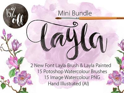 Mini Bundle New Font LAYLA market designer design bundle fonts font