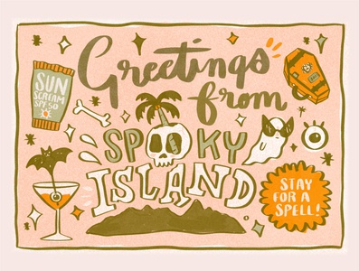 Spooky Island Postcard travel bats ghosts illustrator witches design skull logo retro pins logo halloween typography illustration
