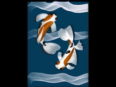 TWIN KOI FISH vector digitalart adobeillustrator illustration animation