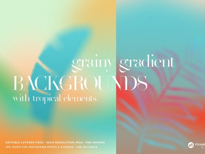 Tropical Gradient Backgrounds and Textures gradient futuristic backgrounds aesthetic abstract invitation poster party exotic shapes canva instagram summer tropical trending textured colorful grainty gradients background