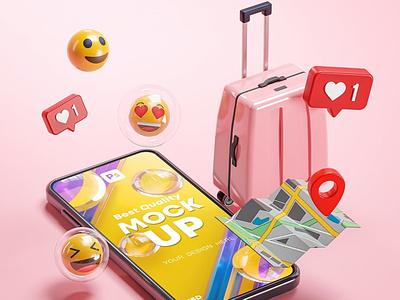 Phone Mockup Pink Suitcase Emoji Travel Online 3D branding 3d mockups 3d mockup phone mockups phone mockup pink cartoon cute 3d suitcase holiday love notification emoji app gps map travel mockup phone