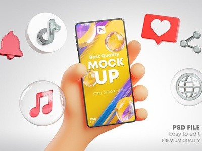 Cute Hand Holding Phone Mockup Social Media Pack flyer poster template poster design poster mockups screen cartoon icons 3d youtube whatsapp tiktok instagram social media social pack mockup phone hand cute