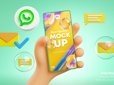 Cute Hand Holding Phone Mockup Social Media Pack screen cartoon icon design icons icon 3d icons 3d icon 3d youtube whatsapp tiktok instagram social media pack social mockup device phone hand cute