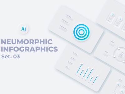 Neumorphic Infographics minimalism minimalist minimal clean white blur gradient template presentaton interface diagram data concept chart business analytics button infographic neumorphism neumorphic