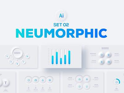 Neumorphic Infographics Set simple clean minimalist minimal blue template presentation interface diagram data concept chart business analytics infographics infographic neumorphism neumorphic
