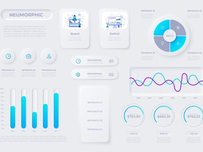 Neumorphic Infographic Elements grey white clean graphic web elements elements website user interface scratch screen ui ux template interface button set application infographic neumorphism neumorphic