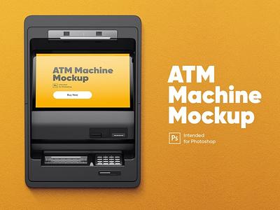 ATM Machine Mockup ui illustration background design payment pay commercial cashpoint cash money logotype logo branding brand presentation editable mockup machine atm