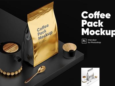 Coffee Pack Mockup coffee app package print photoshop mock-ups scene generator ux branding identity freebie free design scene creator ui download psd mockups mock-up mockup