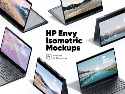 HP Envy Isometric Mockups website webpage web ux ui presentation theme macbook mac laptop display simple clean realistic phone mockup smartphone device mockup abstract phone