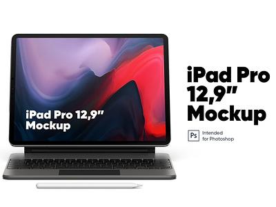 "iPad Pro 12,9"" with Keyboard Mockup ipad pro ipad app figma sketch freebie free scene generator diy mockup iphone ux mobile ui phone scene creator ui download psd mockups mock-up mockup"