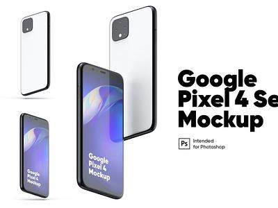 Google Pixel 4 Set Mockups webpage web ux ui presentation theme macbook mac laptop display simple clean realistic phone mockup smartphone device mockup abstract phone google pixel 4