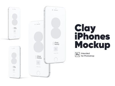 Clay iPhones Mockups Set website webpage web ux ui presentation theme macbook mac laptop display simple clean realistic phone mockup smartphone device mockup abstract phone