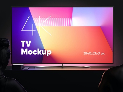TV (Night Version) Mockup theme minimal modern clean design tv screen tv night screen monitor mockup interface ux ui web os retina display application apple