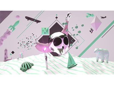 Banana Entrance graphicdesign motiondesign 3d illustration design kollage artwork octane render c4d cinema4d
