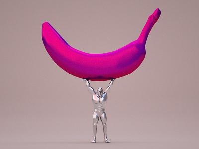 Overhead Squads man banana cgi art 3d illustration abstract design gif motion render cinema4d