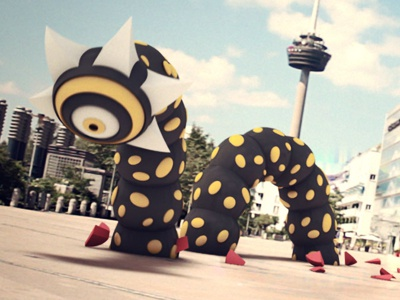 Worm motion design 3d character