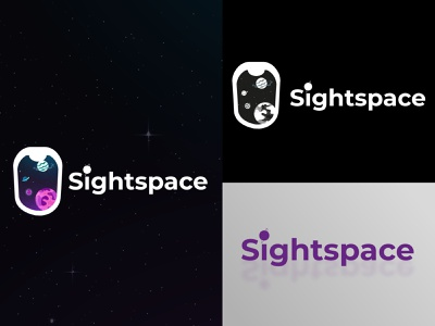 logo based on outer space/ Sightspace minimalist motion graphics illustration vector logo branding animation design graphic design