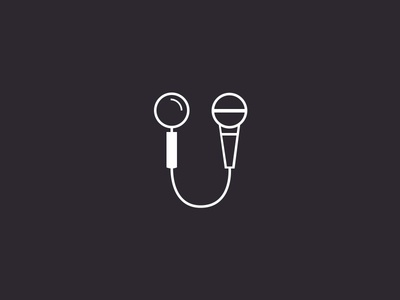 Search + Speak event speaker microphone mic search vector lines logo