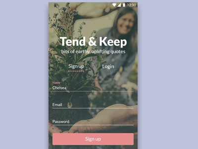 DailyUI #001 - Sign Up daily ui garden gradient labels input text field sign up android challenge ui daily