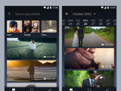 Photo Gallery - Bottom Navigation photo gallery timeline photography bottom navigation ui dark theme gallery photo android