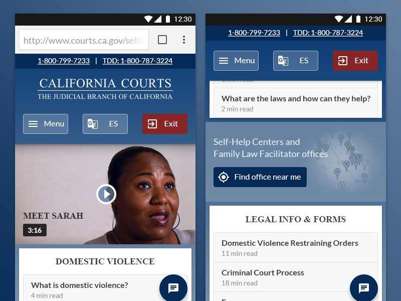 California Courts redesign sticky header navigation header read time video media map gradient browser android mobile web