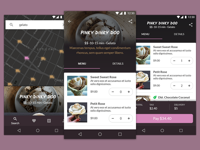 Ice Cream Delivery App Concept increment selector checkout menu order tab bar map bottom navigation material design android
