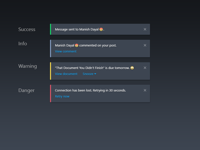 DailyUI #049 - Notifications dark dark theme types notification notifications daily ui component challenge