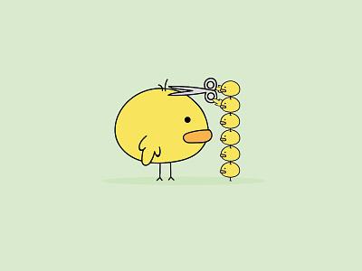 Haircut hair illustrator cute chicken flat design illustration