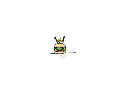 Hungry cute ipad pro adobe photoshop hamburger chicken illustration