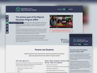 Migrant Education responsive webflow fixed nav flat bilingual web design