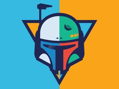 Janba Fett logo team scrum mask dent helmet wars star starwars fett boba jango
