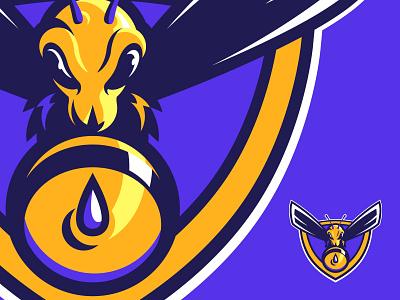 Hornet Graphic logo sports sheild t-shirt graphic purple bee hornet
