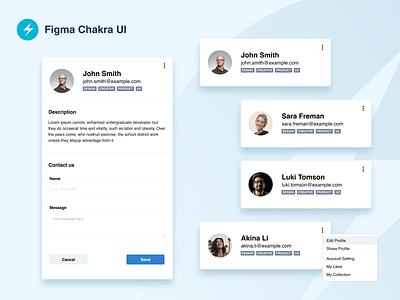 Figma Chakra UI - Example Use kit uikit mobile design web design web app website options buttons email tags menu design sistem components web figma design figma avatar form card