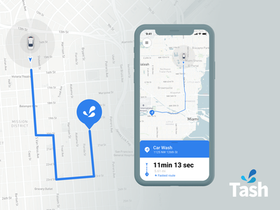 Tash Wash App  - P2 marker gps tracker product design mobile app iphone mapbox mapping traking gps map iphone x mobile ui app design