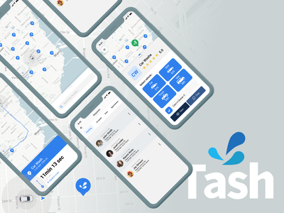 Tash Wash App - P3 favorite marker mapping mapbox map mobileapp list card search car iphone x mobile ui app design