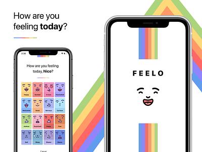 Feelo App cards screen splash life lifestyle design iphone x mobile ui app