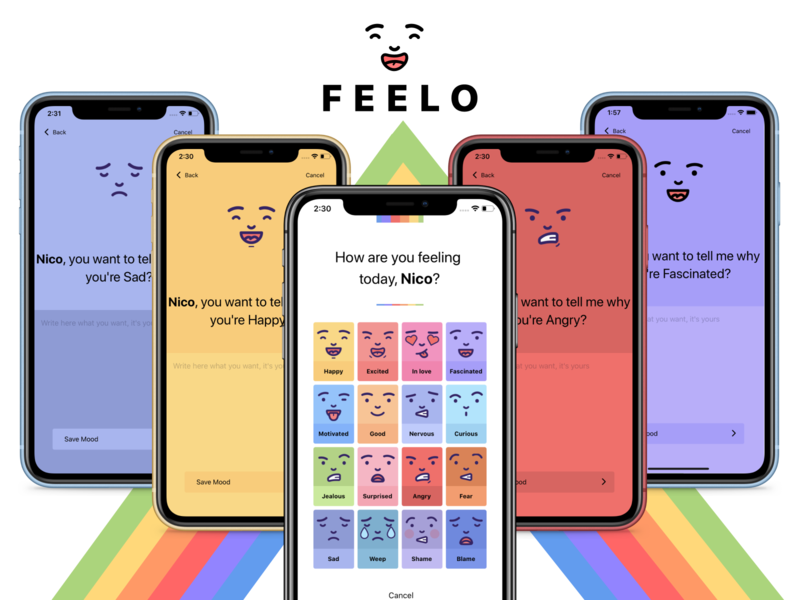 Feelo App - P3 form screens cards life lifestyle iphone x mobile ui app design