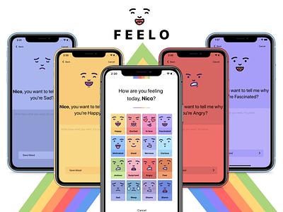 Feelo App - P3 form screens cards life lifestyle iphone x mobile ui app design
