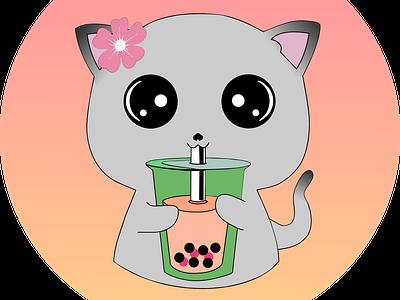 Kawaii Kitty logo design kawaii cute inkscape design icon vector vec logo graphic design