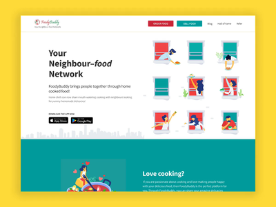 New Homepage for FoodyBuddy landing page concept motion registration onboarding website design bangalore framer food illustration indian food lifestyle health healthy food app home page landing page ux ui gif interaction