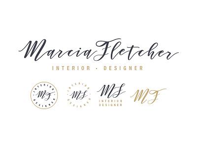 Marica Fletcher Interior Design interior designer initials identity personal logo logo