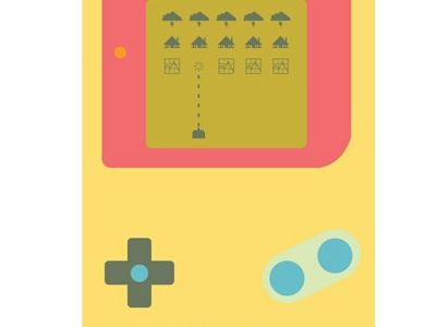 Vector illustration for the Walrus editorial gameboy 8-bit space-invaders illustration vector videogame sub-prime moral hazard