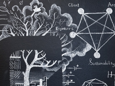 Mural Detail illustration tree mural drawing dialog
