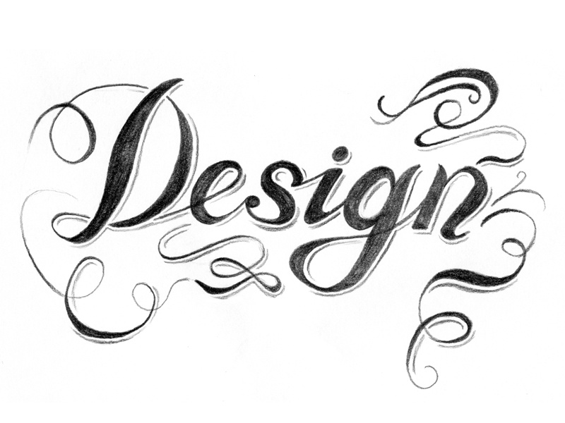 Ornamental Script design lettering script swirly ornamental pencil drop line