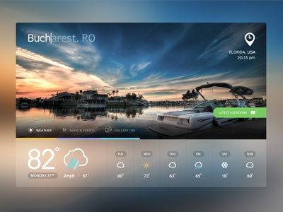 WhereTO App ui app weather icons transparent dashboard buttons flat minimal colors metro application tourism interface web ux layout clean mobile widget search news travel map