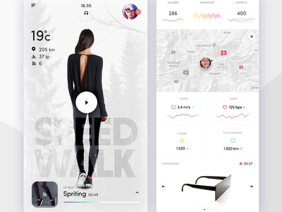 Augmented Workout App fit exercise clean white data dashboard iphone x ui map infographics augmented reality ar
