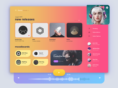 Sunny Mood gallery cards album collections spotify tipography product desktop music player music gradients ui dashboard music app