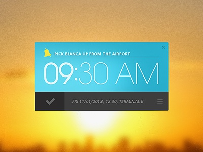 Remind~Me Widget reminder ui minimal orange blue typography icons windows app