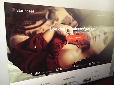 Starindeed Website ui website buttons web fashion topmodels casting logo statistics orange chart star feed header typography homepage