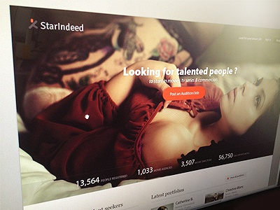 Starindeed Website ui website buttons web fashion topmodels casting logo statistics orange chart star feed header typography homepage